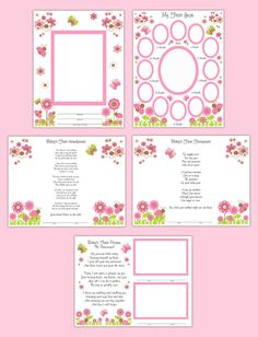 Baby Girl's First Year Premade Scrapbook Page Wall Art Prints make a unique keepsake and perfect gift. Includes flowers, ladybugs, butterflies, and snail in beautiful pink, brown, and green colors with poems #decampstudios