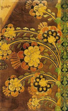 Flowers, by Józef Mehoffer (Polish, Art Nouveau movement. Watercolour on paper on canvas, 220 x 140 cm Design Art Nouveau, Art Design, Azulejos Art Nouveau, Blog Art, Graffiti, Motif Floral, Arts And Crafts Movement, Textile Patterns, Textiles