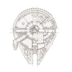 A floor plan of the Millennium Falcon from Star Wars, from