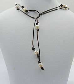 Pearl leather lariat long wrap necklace anniversary gift under 50 - Rustic bohemian leather pearl necklace - third anniversary leather 3rd Anniversary Leather, Anniversary Gifts For Wife, Third Anniversary, Leather Pearl Necklace, Leather Jewelry, Bridal Necklace, Lariat Necklace, June Birth Stone, Bohemian Necklace