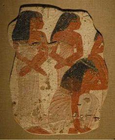 Rassemblement de pleureuses lors de funérailles, le style est typique du Nouvel Empire.