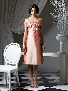 Tea-length scoop neck silk shantung dress with shirring at bodice and bow detail at empire waist. A-line skirt.