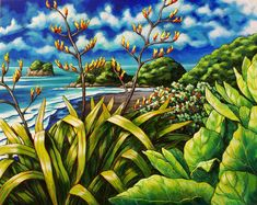 Celebrating New Zealand's coastline and iconic native plants New Zealand Beach, New Zealand Art, Nz Art, Maori Art, Kiwiana, Plant Art, Coastal Art, Surf Art, Ocean Art