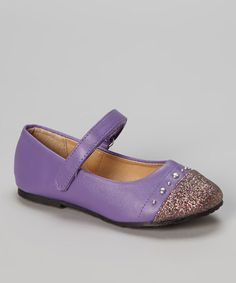 Another great find on #zulily! Purple Glitter-Toe Ballet Flat by Chatties #zulilyfinds