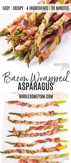 Crispy Bacon Wrapped Asparagus Recipe in the Oven - This easy bacon wrapped asparagus recipe in the oven includes tricks for extra crispy bacon. Everyone loves these easy asparagus and bacon appetizers. And, bacon wrapped asparagus is naturally low carb, Asparagus In Oven, Asparagus Appetizer, Asparagus Bacon, Bacon Appetizers, Appetizer Recipes, Asparagus Recipes Oven, Bacon Recipes, Cooking Recipes, Healthy Recipes