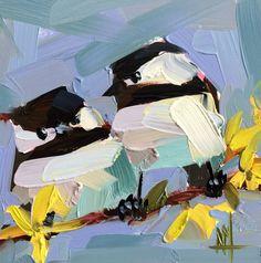 Twee Chickadees nr. 87  6 x 6 x 1/8 inch (15 x 15 cm)  Olieverf op paneel archivering gessobord.  Ingelijste.  Ondertekend door kunstenaar.  Copyright: Angela Moulton ©  Schilderij is vers van de ezel en moet drie weken om te drogen. Geschatte verzenddatum is 28 februari.