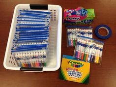 Great way to organize classroom markers plus extending the life of the markers
