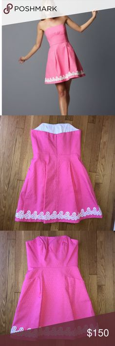 Strapless pink Lilly dress Classic pink Lilly Pulitzer dress. Worn once, and still in excellent condition! Lilly Pulitzer Dresses