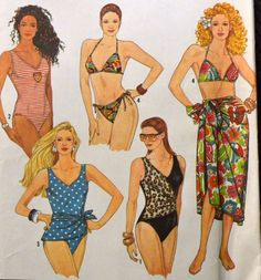 Sewing Pattern Simplicity 9750 Misses' One and Two-Piece Swimsuits and Pareo in size 4-12, bust 29-34 inches UNCUT  Complete by GoofingOffSewing on Etsy