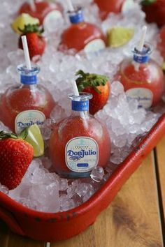 Mini Strawberry Margaritas, mini strawberry margaritas served in mini Don Julio tequila bottles make for a cute presentation. Cocktails, Party Drinks, Cocktail Drinks, Alcoholic Drinks, Beverages, Brunch, Perfect Margarita, Margarita Bar, Tequila Bottles