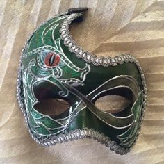 "Venetian costume mask handmade, wearable, celtic mask, dragon mask, celtic wall decoration, in green and silver, ""Green Celtic Dragon mask"" by EthnicDrops on Etsy https://www.etsy.com/listing/400562597/venetian-costume-mask-handmade-wearable"
