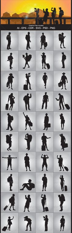 Tourist Silhouettes  #GraphicRiver         Nice Tourist Silhouettes silhouettes vector design. In this files include AI and EPS versions. You can open it with Adobe Illustrator CS and other vector supporting applications. I hope you like my design, thanks   Graphics Files Included : AI ( Adobe Illustrator ) EPS (Encapsulated Postscript ) V.10, PNG ( Portable Network Graphics ) without background / transparent ,CDR (Corel Draw ), SVG ( Scalable Vector Graphics ) can open with inkscape (…