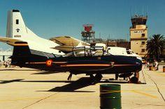 Hispano Aviación HA-200, Saeta, behind the CASA  C-212 Aviocar. Spanish built, designed aircraft.