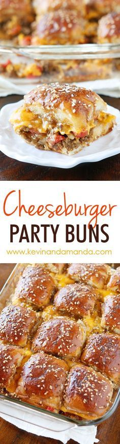 These Cheesy Party Burgers are so fun! Great to serve to a crowd or just to make dinner fun. Perfect for parties because you can make them the night before and cook the next day. If you want to start the party, make these Cheesy Party Burgers!! Think Food, I Love Food, Good Food, Yummy Food, Tasty, Beef Recipes, Cooking Recipes, Hamburger Recipes, Hamburger Buns