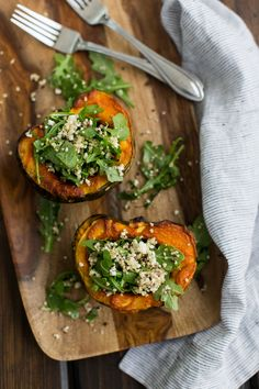 Serve this recipe for Curried Acorn Squash with Quinoa and Arugula on the side with some salmon or on its own for a light lunch.