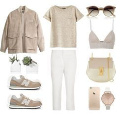 Nude + White by fashionlandscape on Polyvore featuring Mode, A.P.C., MSGM, H&M, Jil Sander, New Balance, Chloé, Topshop and Ray-Ban