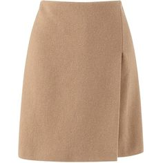 Jigsaw Wool Wrap Skirt, Camel ($135) ❤ liked on Polyvore featuring skirts, mini skirts, wrap skirt, beige skirt, wrap mini skirt, woolen skirts and wool skirt