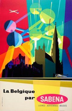 Belgium Sabena Midcentury Modern Atomium, 1950s - original vintage poster listed on AntikBar.co.uk