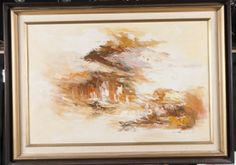 FRAMED OIL ON CANVAS. ARTISTS SIGNATURE APPEARS TO READ CHIEN. WONDERFUL BROWN, ORANGE AND YELLOW HUES THAT GET DARKER AT THE CENTER OF THE PAINTING. EXCEPTIONAL BRUSH STROKES. THERE ARE SAILBOATS IN THE FOREGROUND WITH LARGE MOUNTAINS DOMINATING THE BACKDROP OF THIS PIECE. 36WX27H.