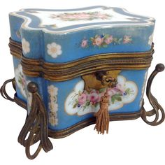 French Opaline Blue Glass Casket c. 19th C. from Antiques of River Oaks on Ruby Lane $2,995 - Questions Call: 713-961-3333