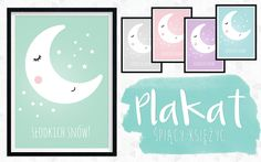 plakat-spiacy-ksiezyc Printables, Diy, Free, Design, Poster, Bricolage, Print Templates, Do It Yourself