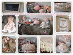 Shabby Chic 1st Birthday Party, pink birthday party, girls birthday party ideas, first birthday, romantic, pastel decor, burlap banners, burlap favour bags, fabric garland, pink ombre birthday cake, pink rose icing ideas, vintage chalkboard ideas, candy table, dessert table, paper poms