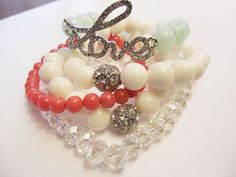 LOVE Crystal Glam Bracelets Mint Green, Coral, & White, Dyed Agate Gemstone Bracelet Stack - Set of 5, Arm Candy by InTheNameOfGlamour, $30.00