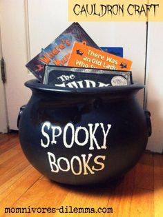 Spooky book cauldron