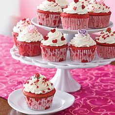 Red Velvet Cupcakes (All You 2/2009) part of Valentine's dinner menu. takes 35 min, makes 16 cupcakes, per svg=355cal, 17fat, 1fbr.