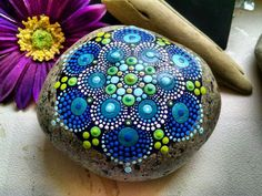 Hand Painted Rock Art ~ Blue Green Dot art ~ Mandala Stone ~ Original Artwork by Miranda Pitrone by on Etsy Mandala Painted Rocks, Mandala Rocks, Hand Painted Rocks, Flower Mandala, Painted Stones, Dot Art Painting, Mandala Painting, Mandala Art, Stone Painting