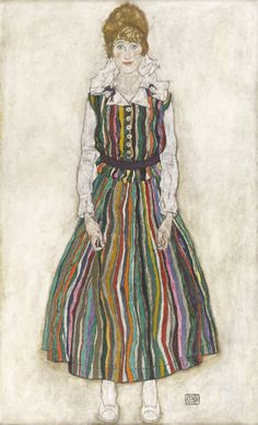 EGON SCHIELE, EDITH SCHIELE IN STRIPED DRESS, 1915 © COLLECTION OF THE GEMEENTEMUSEUM DEN HAAG These Are The Women Of Gustav Klimt And Egon Schiele's Paintings