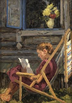 """Unknown artist (Russian, 20th century) - """"By the window"""", 1959 - Springville Museum of Art"""