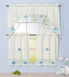 Window Elements Embroidered 3-Piece Kitchen Tier and Valance 60 x 72 Set with Scalloped Border, Tea Party * Details can be found by clicking on the image. (This is an affiliate link and I receive a commission for the sales)