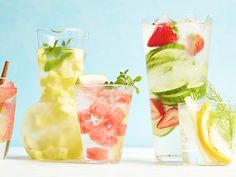 Watered Down? Anything But. : These flavored waters are healthier than the usual sugary sodas, iced teas and lemonades — but they're a whole lot more exciting than plain old H20. Infused with fresh fruits, vegetables and herbs, they're everything you never knew you wanted in a glass of water. via Food Network