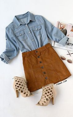Blue Long Sleeve Pockets Denim Shirt with khaki skirt and lace up heels from romwe.com