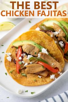 The BEST Easy Chicken Fajitas! A flavorful marinade makes this recipe a family favorite. A quick and easy weeknight chicken dinner! Best Gluten Free Recipes, Gluten Free Recipes For Dinner, Healthy Dinner Recipes, Mexican Food Recipes, Ethnic Recipes, Lunch Recipes, Easy Recipes, Easy Chicken Fajitas, Chicken Fajita Recipe