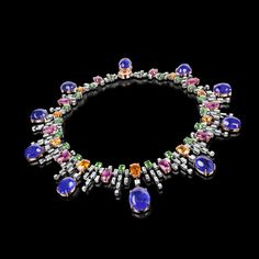Stefano Canturi had a vision for an elegant neckpiece bursting with colour. Inspired by the mythical Greek Goddess of Rainbow, Stefano gathered precious gemstones to create a multicoloured arc in his iconic Cubism jewellery style. It took two years to complete the spectrum of coloured gemstones including diamonds, tanzanite, garnet and rubellite.