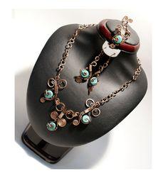 Copper jewelry set-turquoise jewelry set