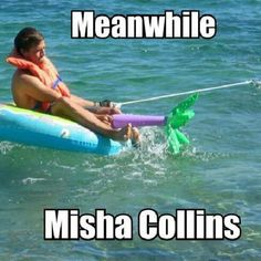 This picture perfectly sums up why I want to meet Misha Collins so badly. He's a freaking riot!
