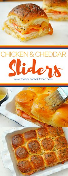 Chicken and Cheddar Sliders – The Anchored Kitchen – Sandwich 2020 Slider Recipes, Sandwich Recipes, Appetizer Recipes, Party Appetizers, Hawaiian Sweet Rolls, Gluten Free Puff Pastry, Brunch, Good Food, Yummy Food