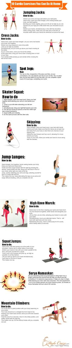 Top 10 Cardio Exercises You Can Do At Home. #fitness #health
