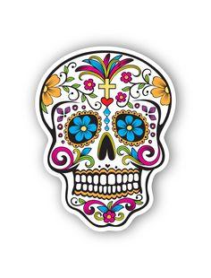 mexican sugar skull sticker by Tmaniashop on Etsy