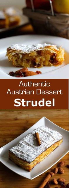 Nadire Atas on Austrian Cuisine Apfelstrudel whose recipes somewhat vary from one country to another, is one of the jewels of Jewish Ashkenazi cuisine, especially on Rosh Hashanah. Austrian Desserts, Austrian Cuisine, Austrian Recipes, German Recipes, Fruit Recipes, Baking Recipes, Dessert Recipes, Meal Recipes, Recipies