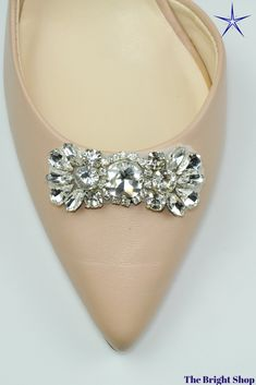 Stunning silver rhinestone applique, made with high quality glass rhinestone, perfect for all your bridal shoe. The Bright Shop have a good selection of rhinestone appliques and trims. Click through to see more at www.TheBrightShop.etsy.com  #shoeclip #shoebling Girls Belts, Crystal Bouquet, Bling Shoes, Bridal Comb, Rhinestone Appliques, Brooch Bouquets, Shoe Clips, Silver Rhinestone, Bridal Shoes