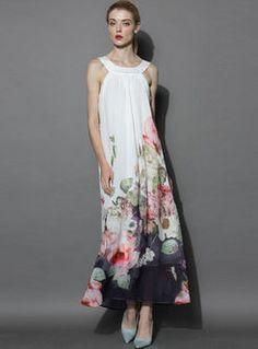 Elegant off shoulder ink print loose maxi dress
