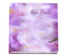 "Floral themed Lavender Guest Book 8""x8"" hardcover glossy with photo on front, if desired."
