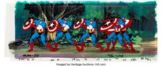 Captain America Pan Production Cel and Background Animation Art (Marvel Studios, Why settle for one - Available at Sunday Internet Comics Auction. Marvel Cartoons, Captain America, Auction, Neon Signs, Animation, Comics, Image, Animation Movies, Cartoons