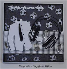 Kortparadis: Konfirmasjonskort til gutt - fotball, data og musi. Boy Cards, Men's Cards, Confirmation Cards, Suit Card, Marianne Design, Teenager, Masculine Cards, Hobbies And Crafts, Greeting Cards Handmade