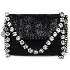 Stella McCartney Falabella Shaggy Deer Tiny Fold Over Tote ($775) ❤ liked on Polyvore featuring bags, handbags, tote bags, black, black handbags, fold over purse, fold over handbag, stella mccartney handbags and metallic tote