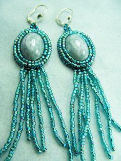 Bead embroidered earrings by Eva Barkman. $24.00 https://www.etsy.com/shop/BohemianIce